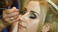 Bridal Makeup  - Applying Eyeshadow Stock Footage