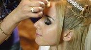 Bridal Makeup - Applying  Face Powder Stock Footage
