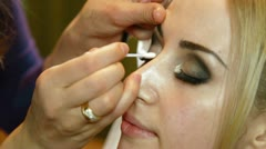 Stock Video Footage of Bridal Makeup - Applying Eyeshadow