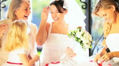Bride with Cute Flower Girl Family Members Stock Footage