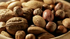 Mixed Nuts close up in bowl Stock Footage