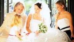 Cute Blonde Flower Girl Laughing Bride Family  Stock Footage