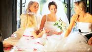 Four Female Family Members Home Wedding Stock Footage