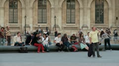 Tourists at the Louvre – Paris France Stock Footage