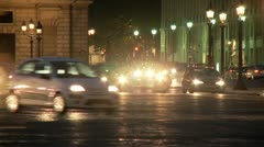 Traffic at Night – Paris France Stock Footage