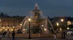 Fountain at Place de la Concorde (Fontaines de la Concorde) - Paris France Stock Footage