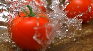 Tomato with water splash, Slow Motion Stock Footage