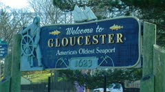 Welcome to Gloucester: America's Oldest Seaport sign Stock Footage