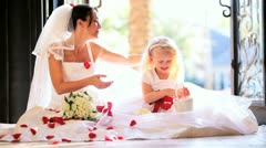 Pretty Blonde Bridesmaid Sitting Laughing Bride Stock Footage