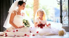 Portrait Bride Cute Bridesmaid Playing Flower Petals Stock Footage