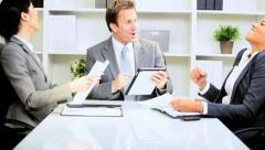 Caucasian Businessman Successful Team Meeting Stock Footage