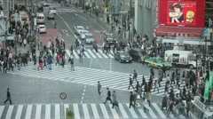 Tokyo Hachiko crossing slow motion - stock footage