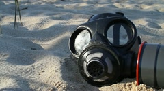 Gas Mask Beach (tracking shot) Stock Footage