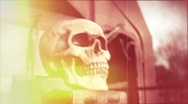 Stock Video Footage of Death Reel (FX shot) - skull on train w/ film burns