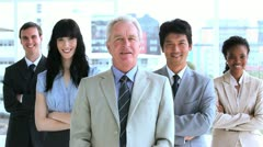 Successful business team applauding - stock footage