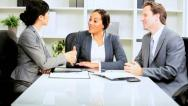 Multi Ethnic Business Team Client Meeting Stock Footage