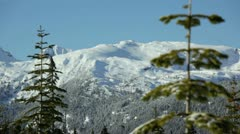 Snowy mountain scene at  mt, washington vancouver island bc canada. Stock Footage