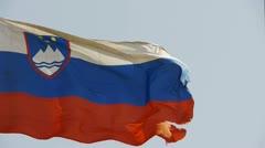 Slovenian flag is fluttering in wind. Stock Footage