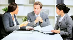 Multi Ethnic Businesswomen Meeting Male Client Stock Footage