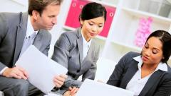 Multi Ethnic Business Team Working Wireless Technology - stock footage