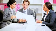 Caucasian Advertising Executive Meeting Multi Ethnic Team Stock Footage