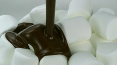 Marshmallow with chocolate, Slow Motion Stock Footage