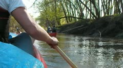 Stock Footage - Family in two canoes in river  - Great shot3 Stock Footage