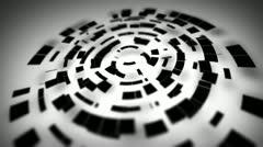 Black circular segments rotate loop Stock Footage