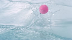 Bounce ball in water, Slow Motion - stock footage