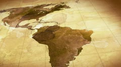 Grunge stained map of the world loopable background Stock Footage