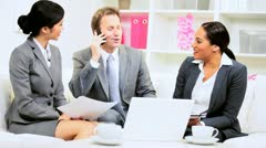 Young Multi Ethnic Business Team News Success Stock Footage