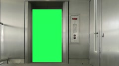 Green Screen Elevator doors open and close Stock Footage