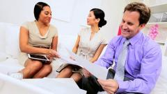 Multi Ethnic Advertising Team Client Meeting Stock Footage