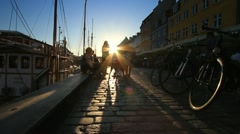 Nyhavn Street at Sunset, Copenhagen GFHD - stock footage