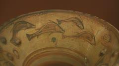 Minonan crete greek pottery fish Stock Footage