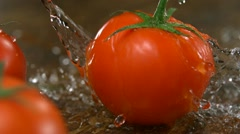 Tomato with water splash, Slow Motion - stock footage