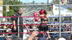 Female Muay Thai Bout Corner Melee Stock Footage