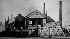 Flying Scotsman steam locomotive old B&W film - stock footage