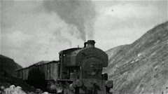 Steam locomotive working in an ironstone quarry old B&w film Stock Footage