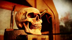 Skull Loop (FX shot) - textured background w/ film burns - stock footage