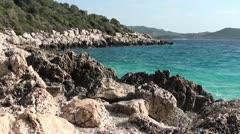 Cliffy coast sea panorama 2 Stock Footage