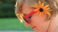 Pretty Hipster Girl Smiling in the Springtime - stock footage