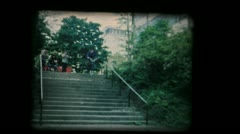 Vintage 8mm film - BMXer Handrail Stock Footage