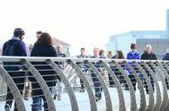 Crowds walking across Millenium bridge, Timelapse Stock Footage