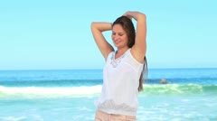 Woman shaking her hair out Stock Footage