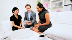 Team male female advertising promotion consultants planning advice meeting Stock Footage
