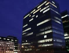 4K Getting Dark Over Office Buildings Timelapse overwork Stock Footage