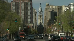 Broad street cars Philadelphia Stock Footage