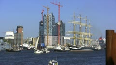 """Krusenstern"" leaves Hamburg Hafengeburtstag 2011 Stock Footage"