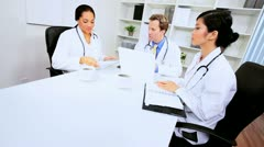 Team Meeting Male Female Hospital Consultants Stock Footage